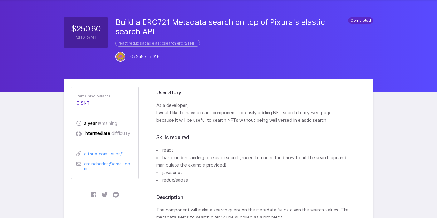 Build a ERC721 Metadata search on top of Pixura's elastic search API