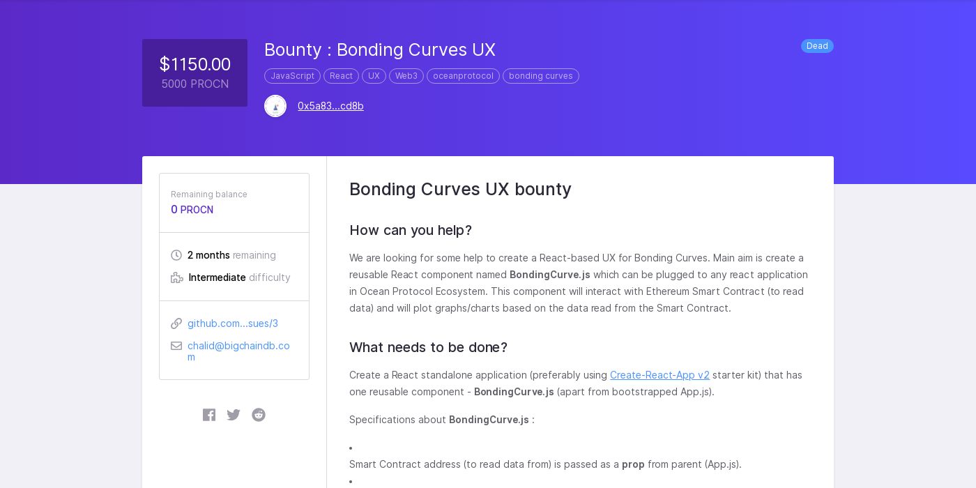 Bounty : Bonding Curves UX