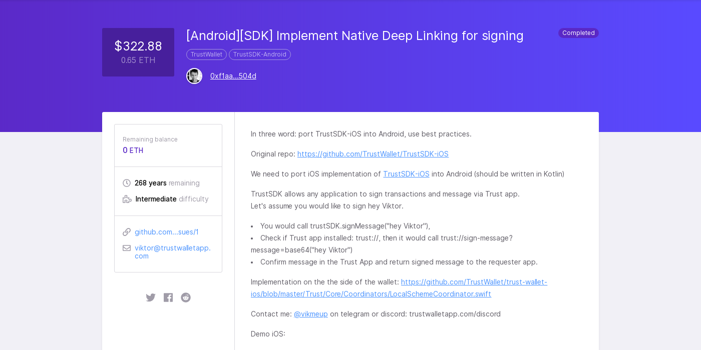 Android][SDK] Implement Native Deep Linking for signing